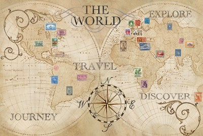 Old World Journey Map Stamps Cream Poster by Cynthia Coulter for $97.50 CAD