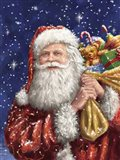 Santa with his sack on Blue