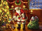 Santa putting gifts under tree