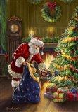 Santa at Tree Blue Sack