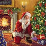 Santa at tree with present