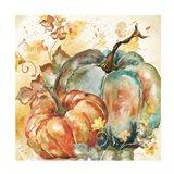 Watercolor Harvest Teal and Orange Pumpkins II