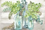 Vintage Bottles and Ferns Landscape