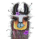 Llama with Purple Flower