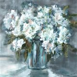 White Hydrangeas on Gray
