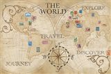 Old World Journey Map Stamps Cream