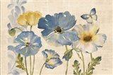 Watercolor Poppies Blue Landscape