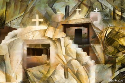Abstract Cubistic Church Poster by Robert Michaels for $53.75 CAD