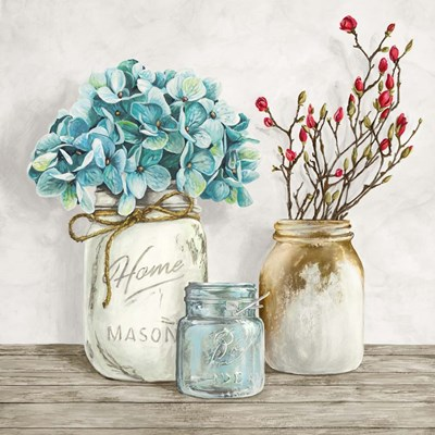 Floral Composition with Mason Jars I Poster by Jenny Thomlinson for $76.25 CAD