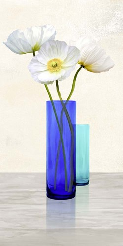 Poppies in crystal vases (Aqua II) Poster by Cynthia Ann for $50.00 CAD