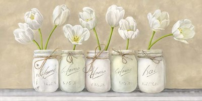 White Tulips in Mason Jars Poster by Jenny Thomlinson for $50.00 CAD