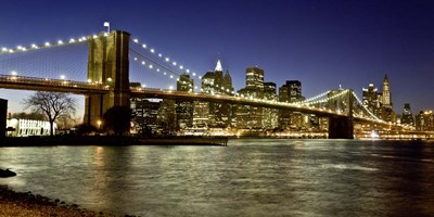 Panoramic View of Lower Manhattan at dusk, NYC Poster by Michael Setboun for $81.25 CAD