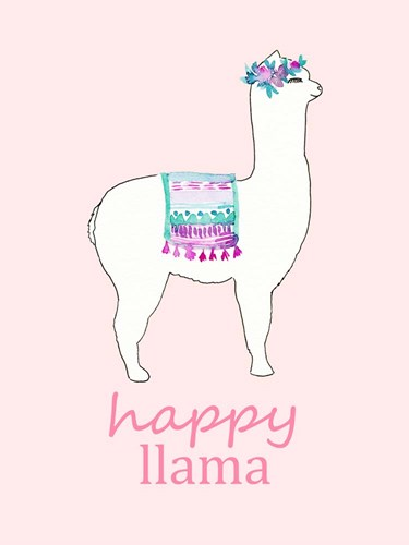 Happy Llama - Pink Poster by Elise Engh for $41.25 CAD