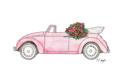 Pink Car with Roses Poster by Elise Engh for $35.00 CAD