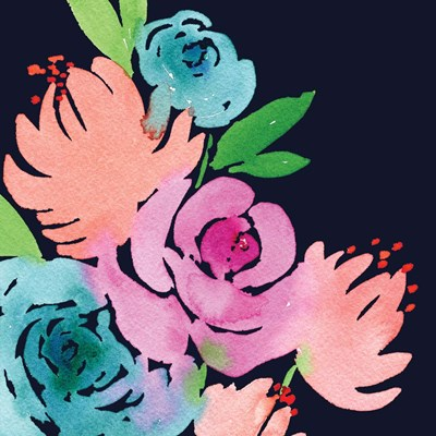 Navy Floral Square I Poster by Elise Engh for $45.00 CAD