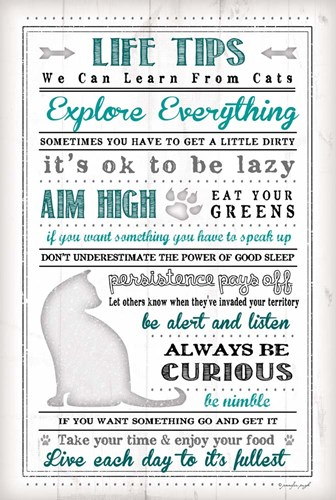 Life Tips - Cats Poster by Jennifer Pugh for $43.75 CAD