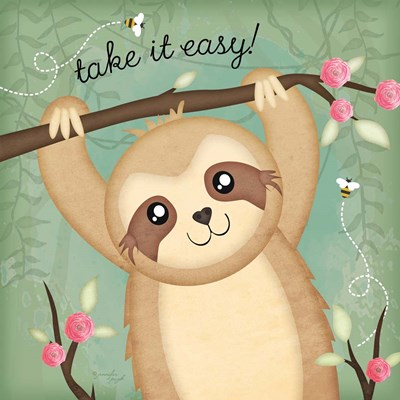 Take It Easy Sloth Poster by Jennifer Pugh for $48.75 CAD