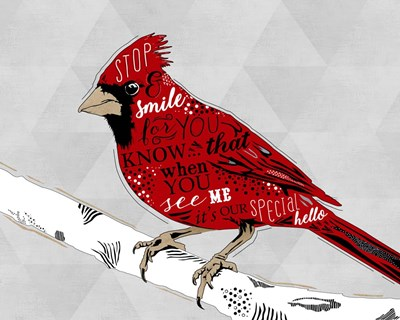 Cardinal Hello White Poster by Longfellow Designs for $56.25 CAD