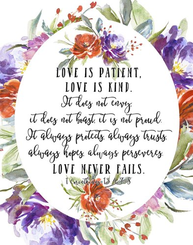 1 Corinthians 13 4, 7-8 Poster by Tara Moss for $52.50 CAD