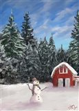 Snowman and Red Barn