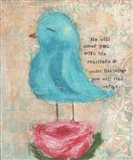 Blue Bird, Pink Flower