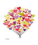 Red Purple Heart Balloons