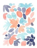 Blue Orange Floral Abstract