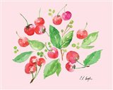 Cherries and Leaves - Pale Pink