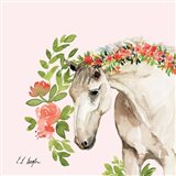 Peach Floral Horse - Pink Background