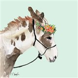 Pony with Floral Crown - Mint Background