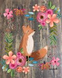 Floral Fox on Wood