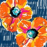 Orange Poppies on Blue