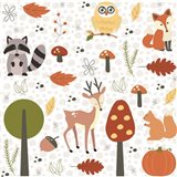 Fall Tree & Animal Pattern