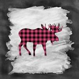 Pink Plaid Moose
