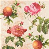 Pomegranates and Roses on Cream I