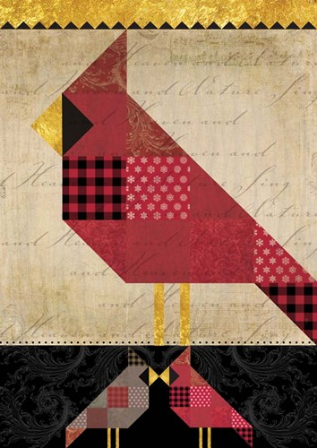 Patchwork Cardinal Tall Poster by Tammy Apple for $51.25 CAD