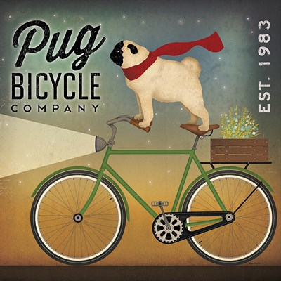 Pug on a Bike Poster by Ryan Fowler for $101.25 CAD
