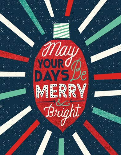 Festive Holiday Light Bulb Merry and Bright Poster by Michael Mullan for $41.25 CAD