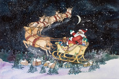 Santas Ride Poster by Kathleen Parr McKenna for $38.75 CAD
