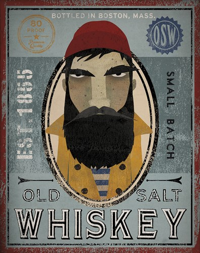 Fisherman VI Old Salt Whiskey Poster by Ryan Fowler for $40.00 CAD