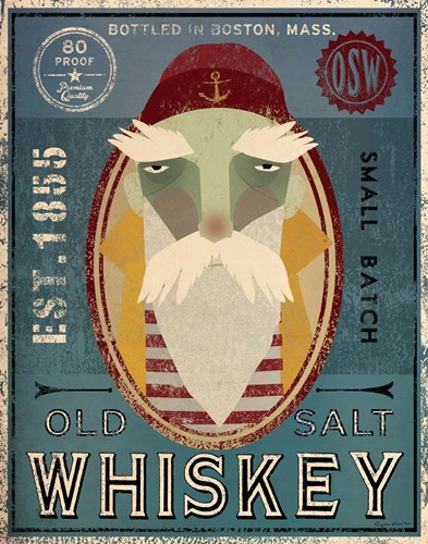 Fisherman VIII Old Salt Whiskey Poster by Ryan Fowler for $33.75 CAD