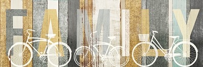 Beachscape Bicycle Family Gold Neutral Poster by Michael Mullan for $63.75 CAD