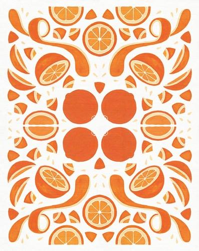 Retro Orange Otomi Poster by Elyse DeNeige for $40.00 CAD