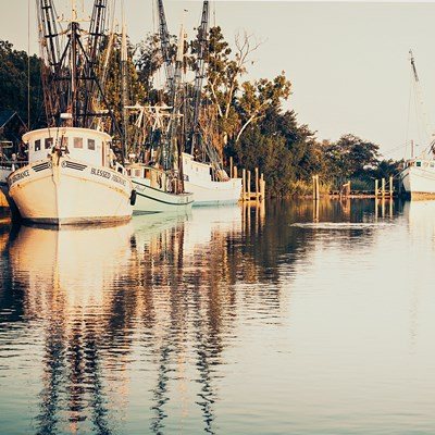 Sepia Shrimp Boats Poster by Brookview Studio for $46.25 CAD