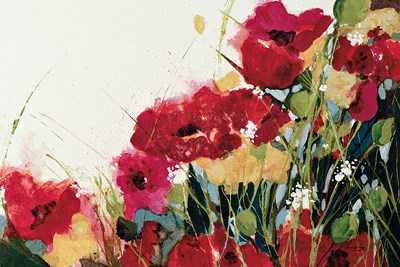 Poppies and Flowers on White Poster by Jan Griggs for $63.75 CAD