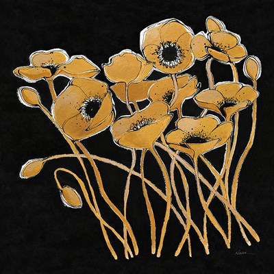 Gold Black Line Poppies I v2 Poster by Shirley Novak for $57.50 CAD