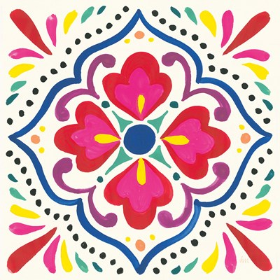 Floral Fiesta White Tile V Poster by Laura Marshall for $35.00 CAD