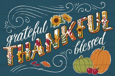 Thankful I Blue Poster by Janelle Penner for $45.00 CAD