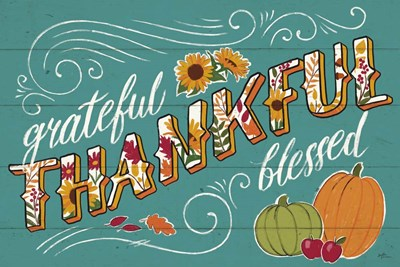 Thankful I Turquoise Poster by Janelle Penner for $45.00 CAD