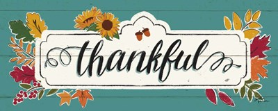 Thankful IV Turquoise Poster by Janelle Penner for $37.50 CAD